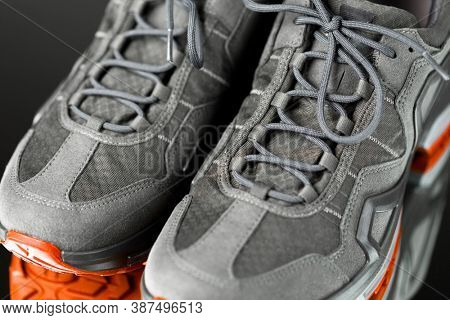 laces of trekking sneakers, close-up view
