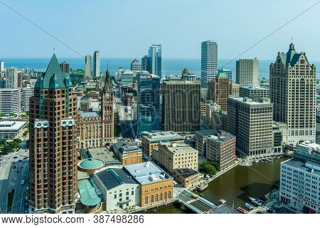 Milwaukee, Wi: 23 September 2020:  An Aerial Image Of Downtown Milwaukee Featuring Skyscrapers River