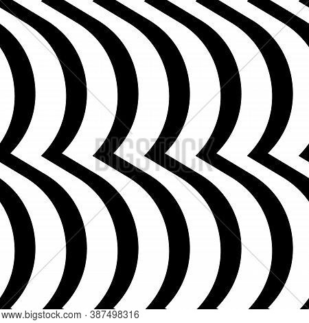 Wavy Lines Seamless Pattern. Angled Jagged Stripes Ornament. Linear Waves Motif. Curves Print. Strip