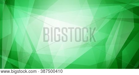 Abstract Background Of Straight Intersecting Lines And Translucent Polygons In Green Colors