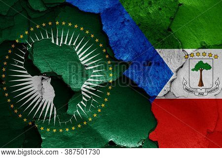 Flags Of African Union And Equatorial Guinea Painted On Cracked Wall