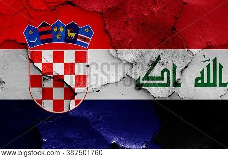 Flags Of Croatia And Iraq Painted On Cracked Wall