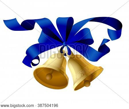 Christmas bells with a blue ribbon isolated on white