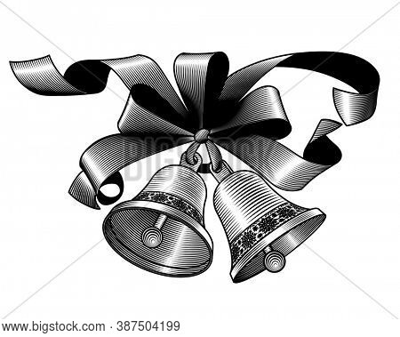 Christmas bells with a ribbon isolated on white. Vintage engraving stylized drawing