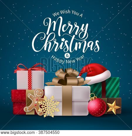 Merry Christmas Vector Design. Merry Christmas And Happy New Year Text With Gift Boxes Elements For