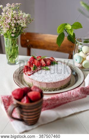 Beautiful Delicious Strawberry Raw Cake Decorated With Berries. Concept Of Delicious And Healthy Sum