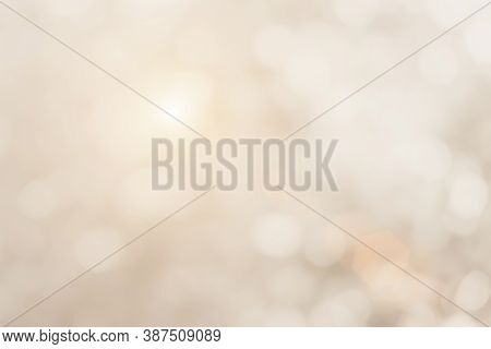 Cream Blurred Christmas Lights Background. Design Effect Focus Happy Holiday Party Glow Texture Whit