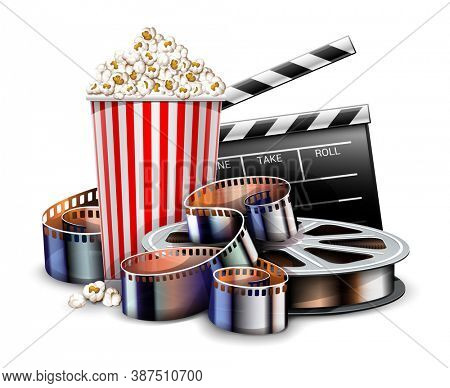 Online cinema art movie watching with popcorn, director clapper and reel film-strip cinematography concept. Realistic objects layout. Isolated on white transparent background. 3D illustration.