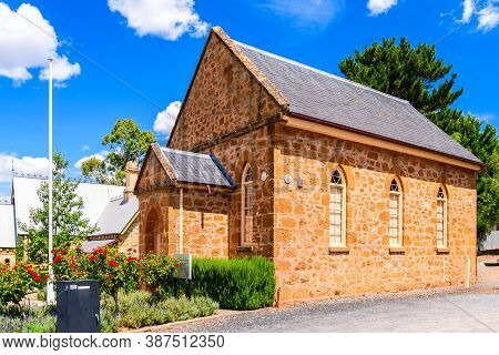 Adelaide Hills, South Australia - February 9, 2020: Clarendon Historic Hall Museum Viewed From Grant
