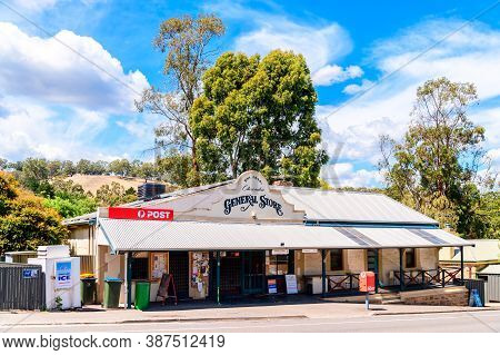 Adelaide Hills, South Australia - February 9, 2020: Clarendon General Store With Australi Post Offic
