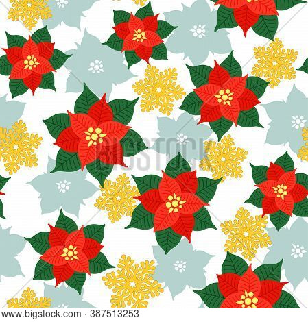 Red And Green Poinsettia And Openwork Golden Snowflakes On A White Background. Vector Seamless Patte