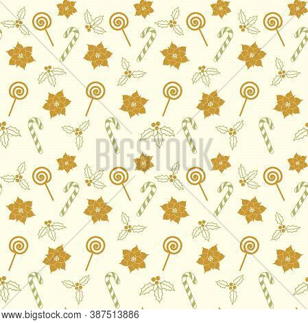 Candy Cane, Lollipop, Poinsettia, Mistletoe And Christmas Holly Berries On A Beige Background. Vecto