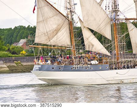 Rouen, France, June Circa, 2019. Three Masted Schooner Ship, Le Francais, French Boat Use For Cruise