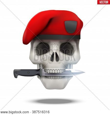 Skull With Military Beret And Knife Cross. Symbol Of Militarism For Labels And Patches. Vector Illus