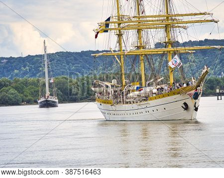Rouen, France - June Circa, 2019. Three Masted Barque Mircea From Romania On The Seine River For Arm