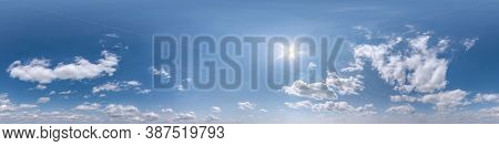 Seamless Clear Blue Sky Hdri Panorama 360 Degrees Angle View With Beautiful Clouds  With Zenith For