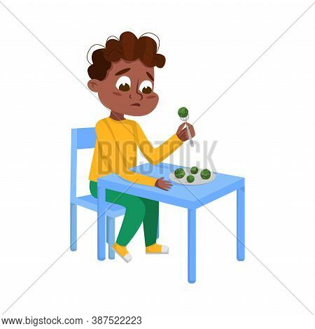 Cute African American Boy Eating Brussels Sprouts, Child Does Not Like Vegetables Cartoon Style Vect