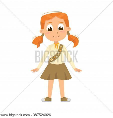 Cute Scout Girl, Scouting Elementary School Child Character In Uniform, Summer Holiday Activities Co
