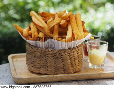 French Fries, Potato Chips Yellow Crispy Fries In Wooden Basket, Food Snack Delicious