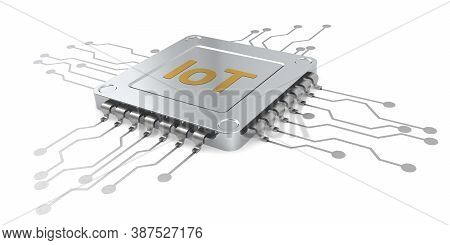 Computer Microchip For Iot Isolated, 3d Rendering