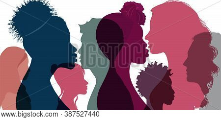 Silhouette Profile Group Of Men Women And Girl Of Diverse Culture. Multicultural Society. Diversity