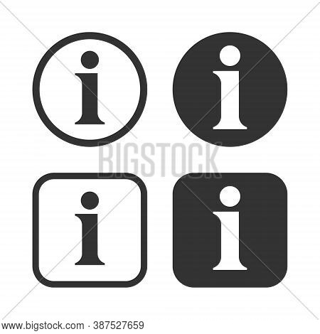 Info Vector Icon. Information Symbol. Helpdesk Service And Support Button Sign. I Point Help Logo. I