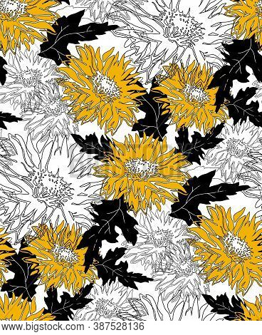 Yellow Chrysanthemum In Full Bloom. Outline Freehand Motley Vector Seamless Pattern With Blossom Of