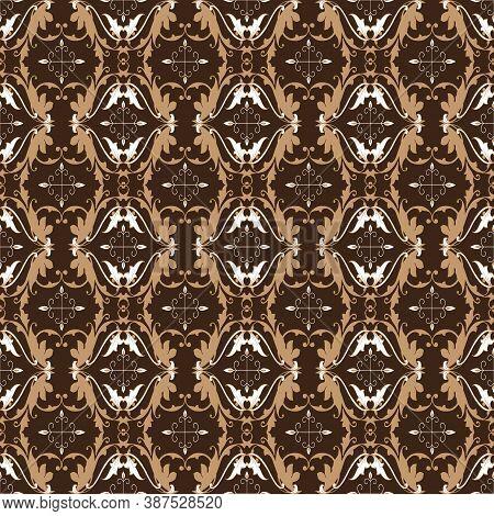 Vintage Motifs On Bantul Batik Design With Simple Dark Brown Color Design.