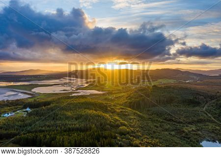 Aerial View Of Ballyiriston And Maas In County Donegal - Ireland.