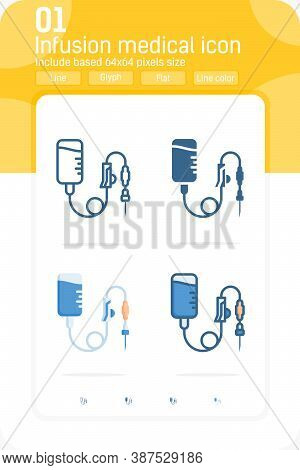 Infusion Medical Premiun Icon With Multiple Style Isolated On White Background. Vector Illustration