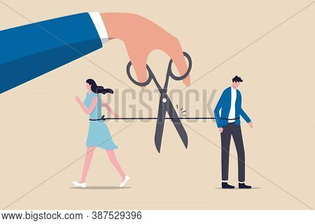 Divorced Couple, Separation Of Broken Marriage End Of Relationship Concept, Hand Using Scissors To C