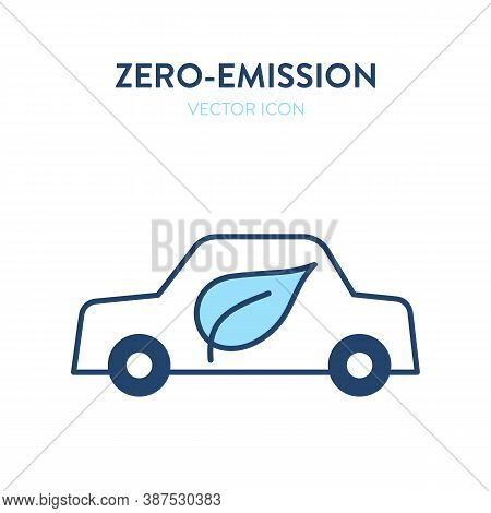 Eco-friendly Car Icon. Vector Illustration Of A Car With A Leaf Eco Symbol On It. Represents Concept
