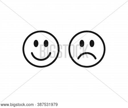 Happy Smile And Sad Unhappy Face Emoji Icon. Positive And Negative Feeling Symbol. Like And Unlike S