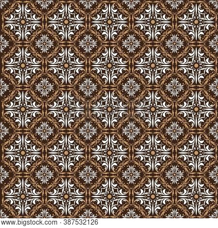 Elegance Seamless Pattern And Ethnic Flowers For Parang Batik Design With A Soft Brown Color Concept