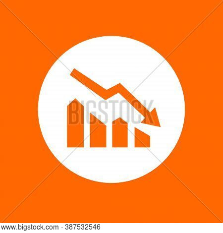 Downtrend Sign Icon. In White Circle On A Orange Background.