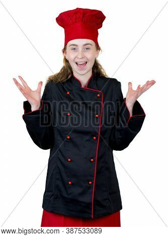 Happy Young Female Cook Apprentice Isolated On White Background