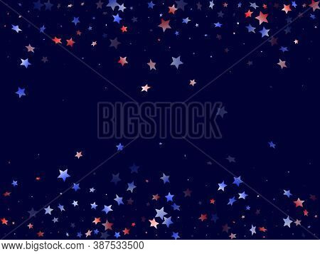 American Independence Day Stars Background. Holiday Confetti In Usa Flag Colors For Presidents Day.