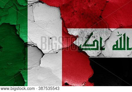 Flags Of Italy And Iraq Painted On Cracked Wall