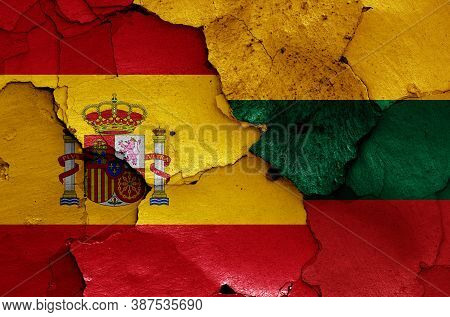 Flags Of Spain And Lithuania Painted On Cracked Wall