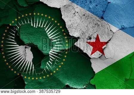 Flags Of African Union And Djibouti Painted On Cracked Wall