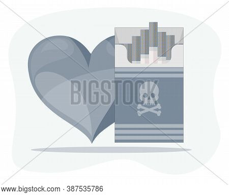 Human Heart And Open Cigarettes Pack Box Flat Style Illustration On A Background, Icon Logo Design I