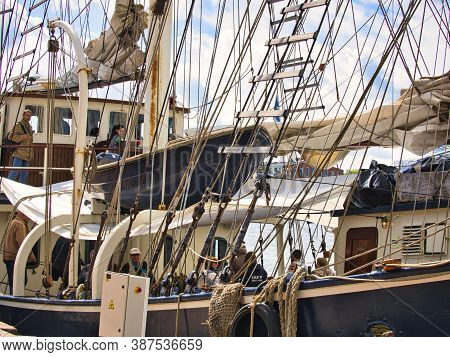 Rouen, France - June Circa, 2019. Part Of The Dutch Three Masted Schooner Barquentine Thalassa On Th