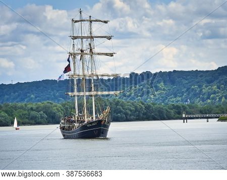 Rouen, France - June Circa, 2019. The Dutch Three Masted Schooner Barquentine Thalassa On The Seine