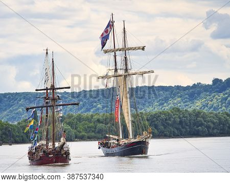 Rouen, France - June Circa, 2019. The Majestic Topsail Gulet Wylde Swan During The Maritime Festival