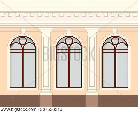 Facade Of The Building, One Floor With Windows And Decorative Elements Of A Column, Balustrade.