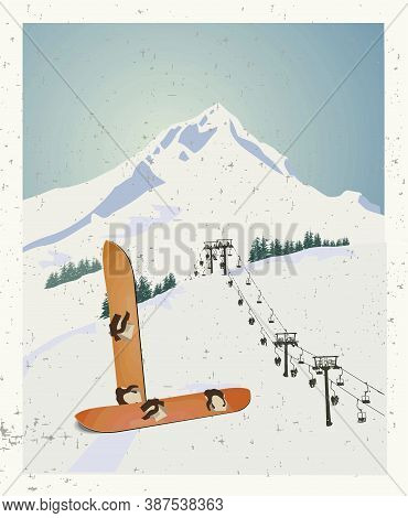 Vector Winter Themed Template With Wooden Old Fashioned Snowboards In The Snow With Snowy Mountains