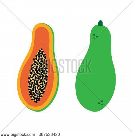 Papaya Fruit, Whole And Cut In Half With Pulp And Seeds Vector Cartoon Style Icons, Illustration.