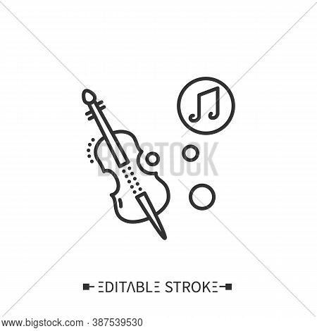 Cello Line Icon. Classical Stringed Orchestral Musical Instrument. Classical, Ethnic And Modern Musi