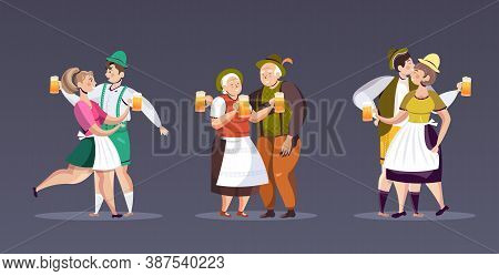 Set People In Traditional Clothes Drinking Beer Celebrating Oktoberfest Party Men Women Having Fun F