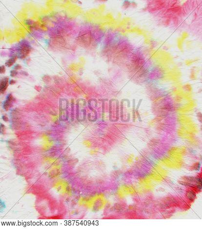 Hippie Design With Watercolor Circular. Artistic Backdrop. Colorful Tie Dye. Tie Die Art Pattern. Ab